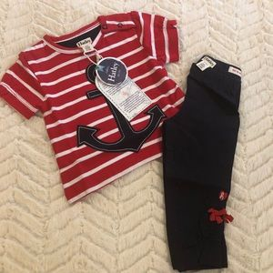 Hatley Baby Girl's Anchors Outfit Top Pants 3-6 m